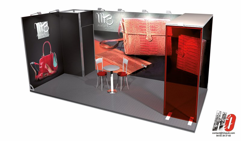 stand modulaire 18 m2 textile avec jonc plexiglass et arche. Black Bedroom Furniture Sets. Home Design Ideas